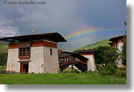 asia, asian, bhutan, bridge, buddhist, horizontal, people, punakha dzong, rainbow, religious, temples, photograph