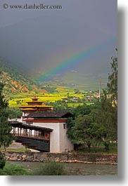 asia, asian, bhutan, bridge, buddhist, people, punakha dzong, rainbow, religious, temples, vertical, photograph