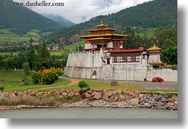 asia, asian, bhutan, buddhist, cars, horizontal, people, punakha dzong, red, religious, temples, photograph