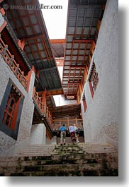 asia, asian, between, bhutan, buddhist, buildings, people, punakha dzong, religious, stairs, tall, temples, vertical, photograph