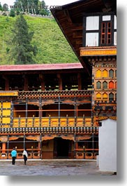 asia, asian, bhutan, buddhist, couples, courtyard, religious, rinpung dzong, style, vertical, walking, photograph