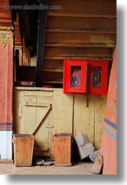 asia, asian, bhutan, boxes, extinguisher, fire, rinpung dzong, style, vertical, photograph