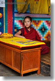 asia, asian, bhutan, boys, buddhist, clothes, desks, monks, people, religious, rinpung dzong, robes, style, vertical, photograph