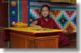 asia, asian, bhutan, boys, buddhist, clothes, desks, horizontal, monks, people, religious, rinpung dzong, robes, style, photograph