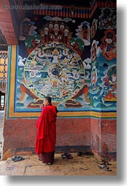 asia, asian, bhutan, buddhist, clothes, monks, paintings, people, religious, rinpung dzong, robes, style, vertical, photograph