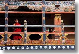 asia, asian, balconies, bhutan, buddhist, clothes, horizontal, monks, people, religious, rinpung dzong, robes, style, photograph