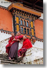 asia, asian, bhutan, buddhist, clothes, monks, people, religious, rinpung dzong, robes, stairs, style, vertical, photograph