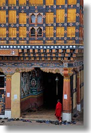 asia, asian, bhutan, buddhist, clothes, monks, people, religious, rinpung dzong, robes, shoes, style, vertical, photograph