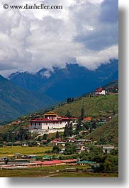asia, asian, bhutan, buddhist, clouds, dzong, nature, religious, rinpung, rinpung dzong, sky, style, vertical, photograph