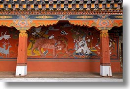 asia, asian, bhutan, buddhist, horizontal, paintings, religious, rinpung dzong, style, tigers, photograph