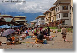asia, asian, bhutan, farmers, horizontal, market, people, street market, vendors, photograph