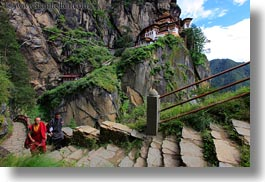 asia, bhutan, buddhist, clothes, horizontal, monks, religious, robes, stairs, taktsang, temples, walking, photograph