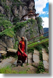 asia, bhutan, buddhist, clothes, monks, religious, robes, stairs, taktsang, temples, vertical, walking, photograph