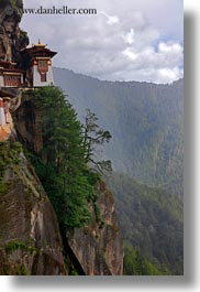 asia, bhutan, big, buddhist, cliffs, flags, prayer flags, religious, taktsang, temples, vertical, views, photograph