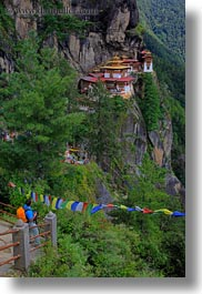 asia, bhutan, buddhist, cliffs, flags, prayer flags, prayers, religious, taktsang, temples, vertical, photograph