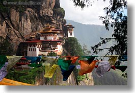 asia, bhutan, buddhist, cliffs, flags, horizontal, prayer flags, prayers, religious, taktsang, temples, photograph