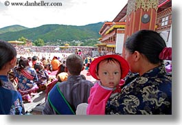 asia, asian, babies, bhutan, bonnet, buddhist, horizontal, people, religious, tashichho dzong, photograph