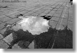 asia, bhutan, black and white, clouds, horizontal, nature, puddle, reflections, tashichho dzong, water, photograph