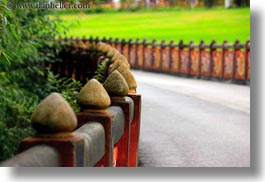 asia, asian, bhutan, buddhist, fences, horizontal, posts, religious, style, tashichho dzong, photograph