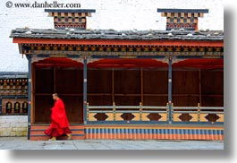 asia, asian, bhutan, buddhist, clothes, horizontal, monks, people, religious, robes, style, tashichho dzong, temples, photograph