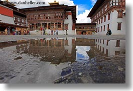 asia, asian, bhutan, buddhist, horizontal, nature, puddle, reflections, religious, style, tashichho dzong, temples, water, photograph