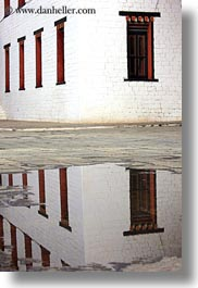 asia, bhutan, nature, puddle, reflections, tashichho dzong, vertical, water, windows, photograph