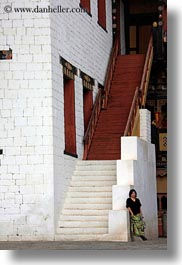 asia, asian, bhutan, buddhist, people, religious, stairs, tashichho dzong, vertical, womens, photograph