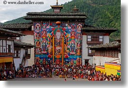 asia, asian, bhutan, crowds, horizontal, people, style, tapestry, under, wangduephodrang dzong, photograph