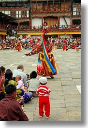 asia, asian, audience, bhutan, buddhist, clothes, costumes, dancers, events, festival, people, religious, stills, style, vertical, wangduephodrang dzong, photograph
