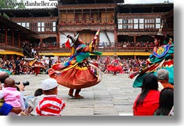 asia, asian, audience, bhutan, buddhist, clothes, costumes, dancers, events, festival, horizontal, people, religious, stills, style, wangduephodrang dzong, photograph