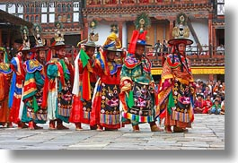 asia, asian, bhutan, buddhist, clothes, costumes, dancers, events, festival, horizontal, people, religious, stills, style, wangduephodrang dzong, photograph