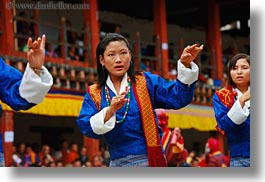 asia, asian, bhutan, buddhist, clothes, costumes, dancers, events, festival, horizontal, people, religious, stills, style, wangduephodrang dzong, womens, photograph