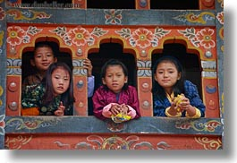 asia, asian, bhutan, childrens, girls, horizontal, people, wangduephodrang dzong, windows, photograph