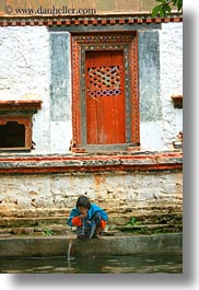 asia, asian, bhutan, drinking, girls, people, vertical, wangduephodrang dzong, water, photograph