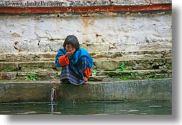 asia, asian, bhutan, drinking, girls, horizontal, people, wangduephodrang dzong, water, photograph