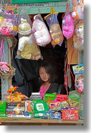 asia, asian, bhutan, booths, candy, girls, people, vertical, wangduephodrang dzong, photograph