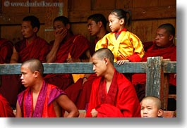 asia, asian, bhutan, girls, horizontal, people, wangduephodrang dzong, yellow, photograph