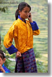 asia, asian, bhutan, cellphone, girls, people, vertical, wangduephodrang dzong, photograph