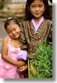 asia, asian, bhutan, girlfriends, girls, people, vertical, wangduephodrang dzong, photograph