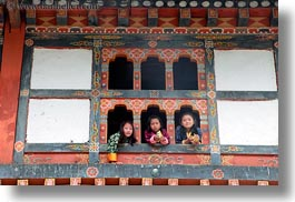asia, asian, bhutan, girls, horizontal, people, wangduephodrang dzong, windows, photograph