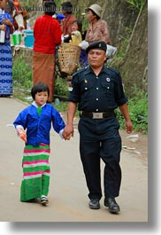 asia, asian, bhutan, daughter, girls, people, policeman, vertical, wangduephodrang dzong, photograph