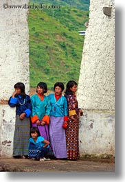 asia, asian, bhutan, girls, people, vertical, walls, wangduephodrang dzong, womens, photograph