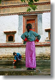 asia, asian, bhutan, girls, people, vertical, wangduephodrang dzong, young, photograph
