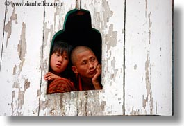 asia, asian, bhutan, buddhist, clothes, horizontal, men, people, religious, robes, style, wangduephodrang dzong, windows, womens, photograph