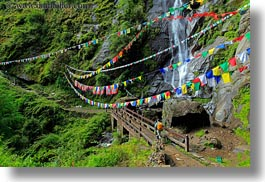 asia, bhutan, bridge, buddhist, flags, horizontal, lush, nature, prayer flags, religious, water, waterfalls, photograph