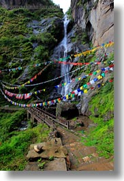 asia, bhutan, bridge, buddhist, flags, lush, nature, prayer flags, religious, vertical, water, waterfalls, photograph