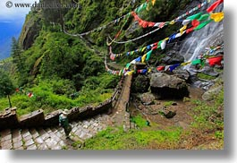 asia, bhutan, bridge, buddhist, flags, hikers, horizontal, lush, nature, prayer flags, religious, water, waterfalls, photograph
