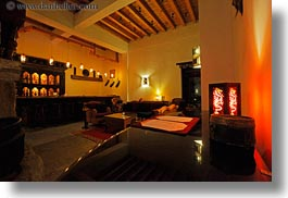 asia, bars, bhutan, glow, horizontal, lights, zhiwa ling hotel, photograph