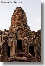 angkor thom, asia, bayon, cambodia, faces, rocks, towers, vertical, photograph