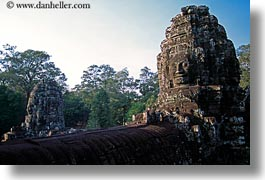angkor thom, asia, bayon, cambodia, faces, horizontal, rocks, towers, photograph